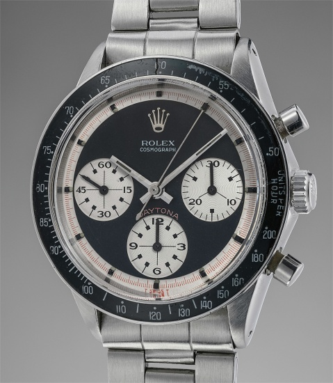 """A very fine and rare stainless steel chronograph wristwatch with """"Paul Newman"""" dial and bracelet"""