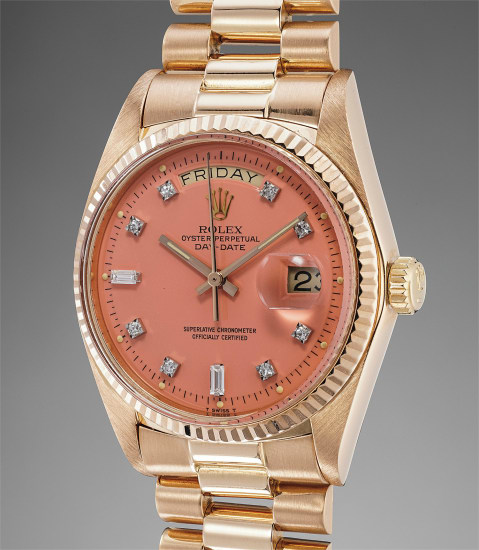 """A very rare and striking pink gold calendar wristwatch with pink lacquer """"Stella"""" dial and bracelet"""