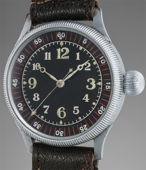 An oversized, extremely rare and historically interesting nickel-plated pilot's watch