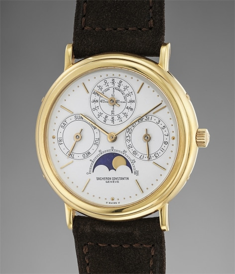 A fine and rare yellow gold perpetual calendar wristwatch with leap year indication