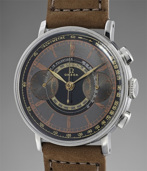A rare and attractive stainless steel chronograph wristwatch with multi-colored dial, large art-deco style hour markers, tachometer, telemeter and pulsometer scales