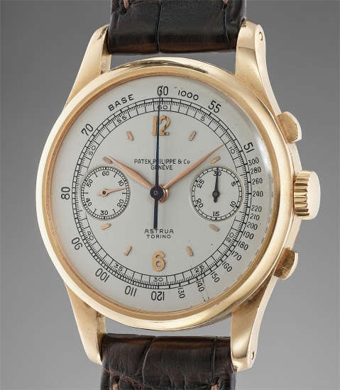 An extremely rare, large and very attractive pink gold chronograph wristwatch with off-white dial retailed by Astrua Torino