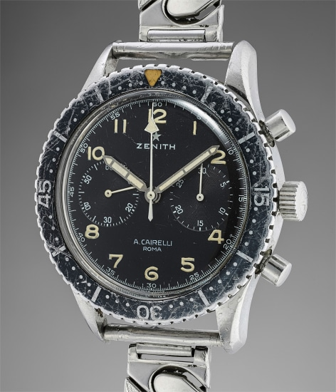A fine and rare stainless steel pilot's chronograph wristwatch with bracelet and original Lockheed cards, military medal, plaque and pin, retailed by Cairelli and issued to L. Ten. Gabriele Ingrosso, first Italian pilot of Tornado aircrafts