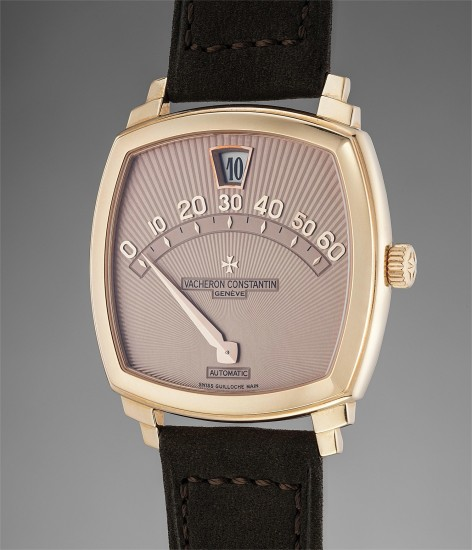 A very attractive, limited edition pink gold jump hour wristwatch with retrograde minutes