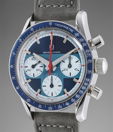 A rare, attractive, and superbly preserved stainless steel chronograph wristwatch