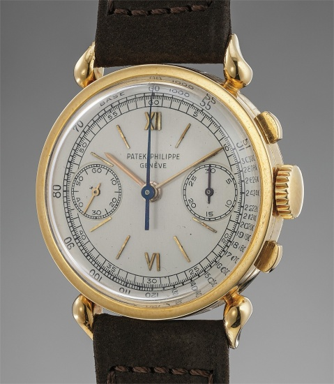 A very fine, extremely unusual and possibly unique yellow gold chronograph wristwatch with teardrop lugs