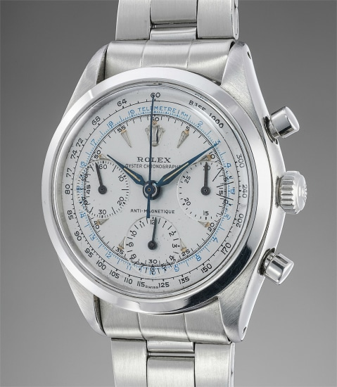 A rare stainless steel chronograph wristwatch with bracelet