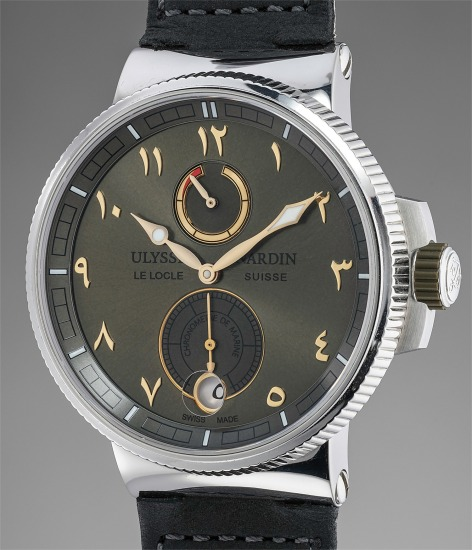 A very fine and highly unconventional limited edition wristwatch with green dial, Eastern Arabic numerals, guarantee and presentation box