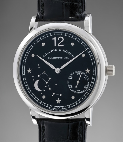 A fine and rare limited edition platinum wristwatch with moonphases, made to commemorate the 150th anniversary of Emil Lange