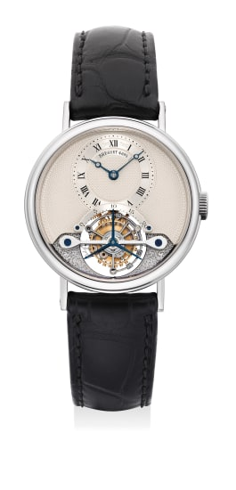 A fine and attractive white gold touribillon wristwatch