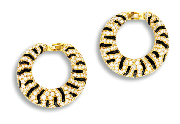 A Pair of Onyx and Diamond 'Tiger' Ear Clips, Cartier