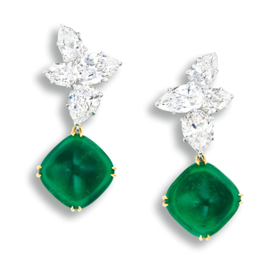 f2f93d261e08e Harry Winston - A Pair of Emerald and Diamond Pendent Ear Clips, Ear ...