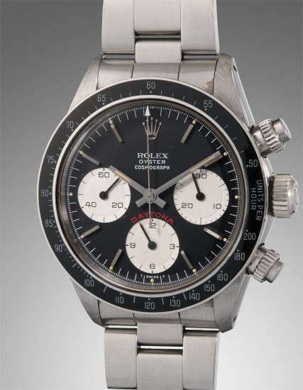 A rare, well-preserved, and highly attractive stainless steel chronograph wristwatch with original guarantee, presentation box, and bracelet