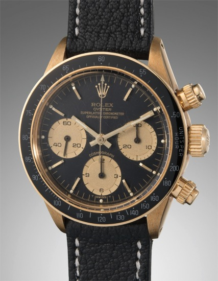 A rare, very fine, and highly attractive yellow gold chronograph wristwatch