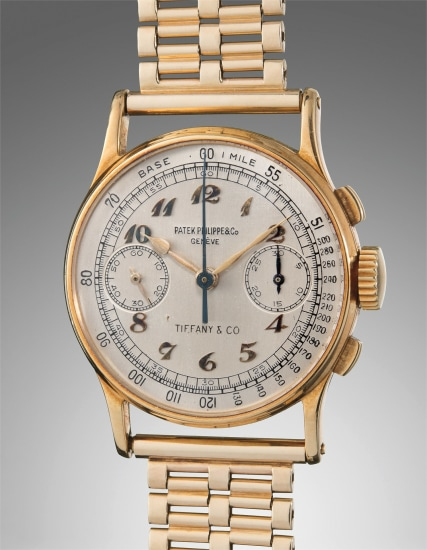 A very fine and rare yellow gold chronograph wristwatch with Breguet numerals and tachymeter scale, retailed by Tiffany & Co.