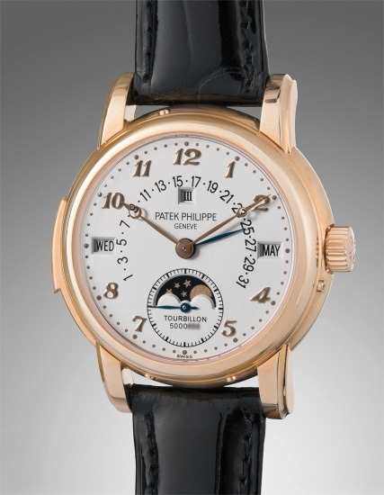 An extremely rare and important pink gold minute repeating perpetual calendar wristwatch with tourbillon, retrograde date, moon phase, Breguet numerals, additional hard caseback, certificate of origin, and presentation box