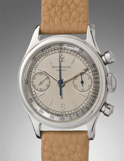 An extremely rare and highly attractive stainless steel chronograph wristwatch with two-tone silvered dial with outer tachymeter scale