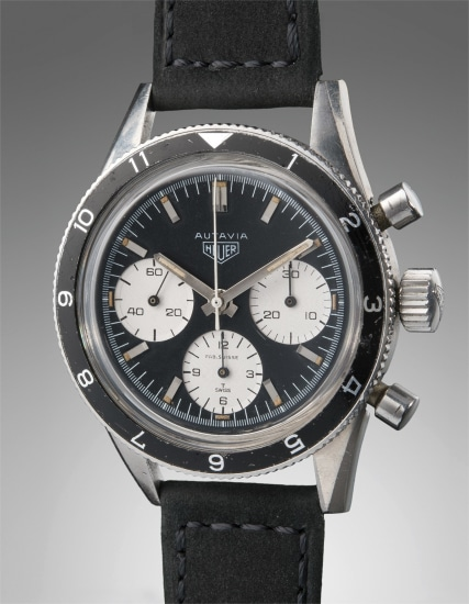 A very fine and rare stainless steel chronograph wristwatch with contrasting subdials