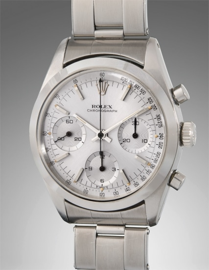 A well-preserved and very rare stainless steel chronograph wristwatch with dark grey dial and bracelet