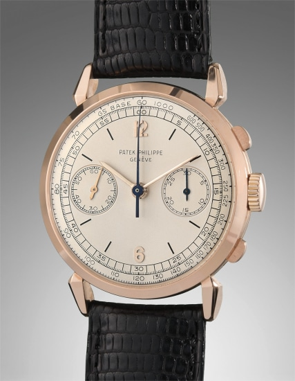 """A very attractive and rare pink gold chronograph wristwatch with """"spider"""" lugs and tachymeter scale"""