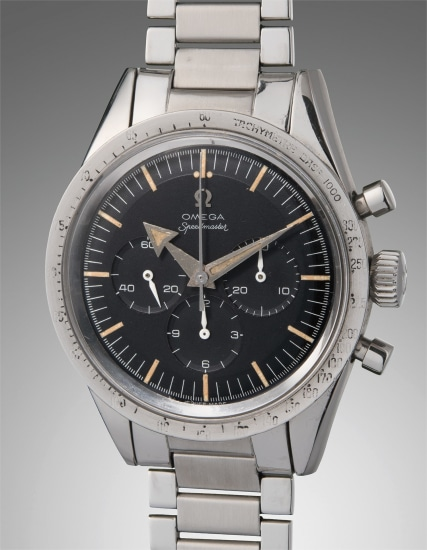 An early, very rare and attractive stainless steel chronograph wristwatch with tachymeter bezel and bracelet