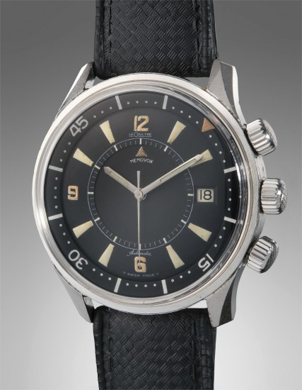 A fine and very rare stainless steel diver's wristwatch with center seconds, date and alarm function