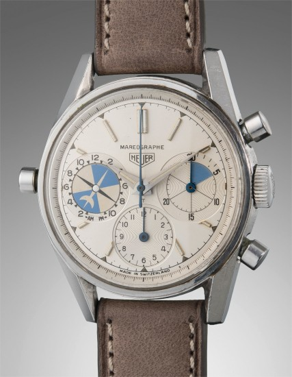 A fine and rare stainless steel chronograph wristwatch with tidal indication