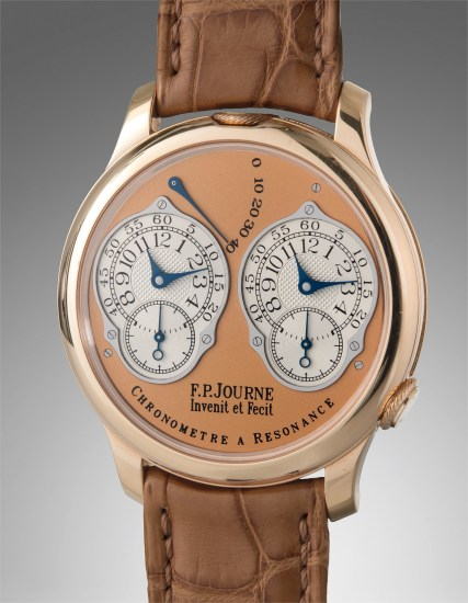 A very fine and highly attractive pink gold dual time wristwatch with double escapement, with original guarantee card and presentation box