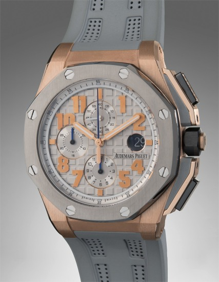 An exceptional, attractive, and large limited edition pink gold, titanium, ceramic and diamond-set chronograph wristwatch with date, guarantee, and presentation box