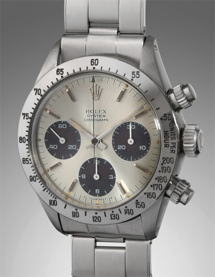 """A fine and rare stainless steel chronograph wristwatch with dial displaying """"Sigma"""" symbols and bracelet"""