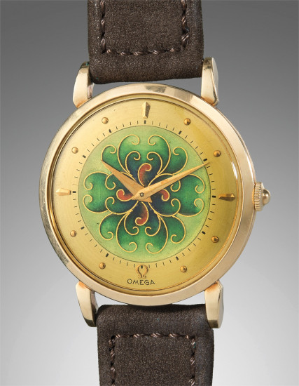 A very fine and rare yellow gold wristwatch with cloisonné enamel dial