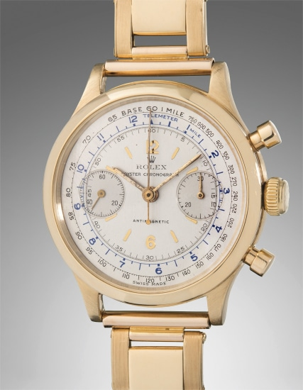 An extremely fine and very rare yellow gold anti-magnetic chronograph wristwatch with bracelet