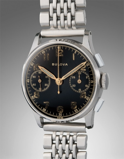 A very fine and historically important stainless steel chronograph wristwatch, presented to President Dwight D. Eisenhower by Bulova Watch Company Chairman, Arde Bulova