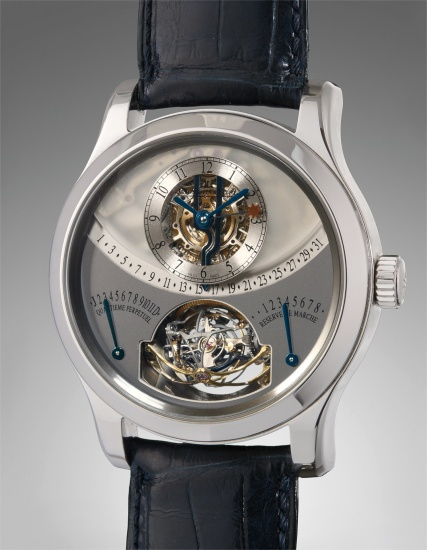 A very rare and attractive, limited edition, semi-skeletonized platinum perpetual calendar wristwatch with multi-axis spherical tourbillon, retrograde date, month and leap year indication, eight day power reserve and equation of time, with certificate of origin and presentation box