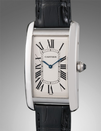 A very fine and attractive oversized platinum rectangular-shaped wristwatch accompanied with original guarantee