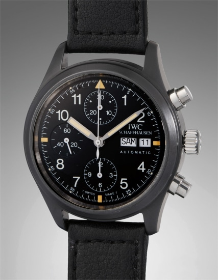 A very rare and historically interesting ceramic and stainless steel chronograph wristwatch with day and date - property from the family of Günter Blümlein