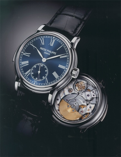 A possibly unique and important platinum minute repeating wristwatch with blue soleil dial, certificate of origin and presentation box, factory double sealed