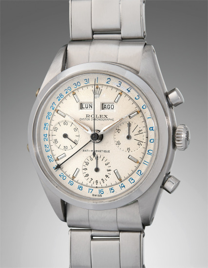 A very attractive and rare stainless steel triple calendar chronograph wristwatch with bracelet