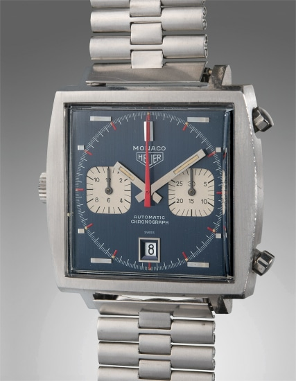 An early, very fine, and rare stainless steel square-shaped chronograph wristwatch with bracelet