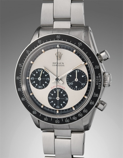 "An extremely rare, very fine, and attractive stainless steel chronograph wristwatch with ""Paul Newman"" dial and bracelet"
