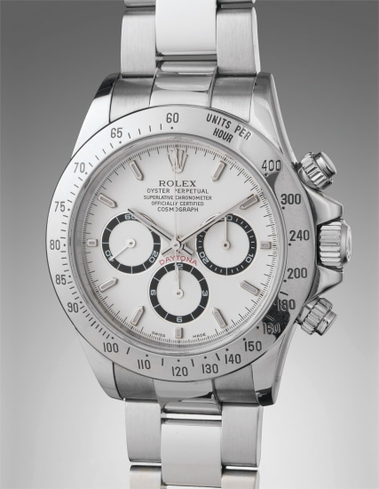A rare and highly attractive stainless steel chronograph wristwatch with bracelet, with guarantee, literature, and presentation box