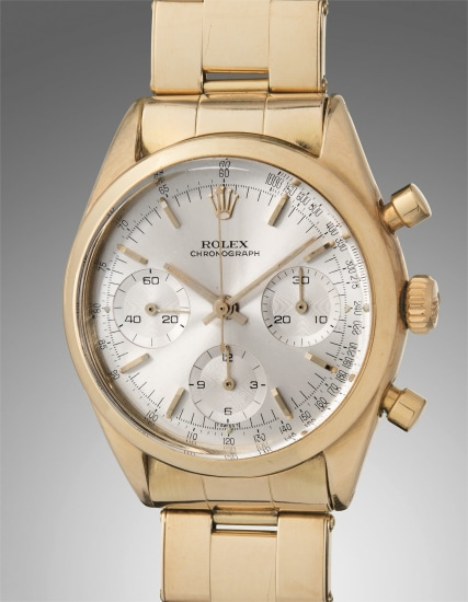 A fine and very rare yellow gold chronograph wristwatch with bracelet