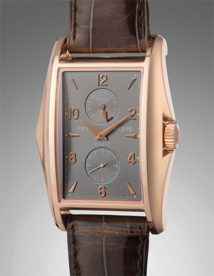 A very fine and rare pink gold wristwatch with 10 day power reserve with certificate of origin and presentation box