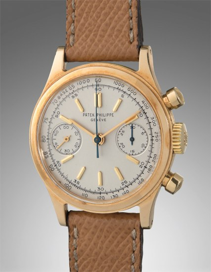 A very fine, rare, and attractive yellow gold chronograph wristwatch with tachymeter scale