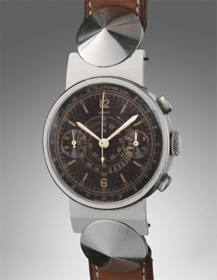 """A very rare and attractive stainless steel chronograph wristwatch with """"tropical"""" dial, unusual lugs and tachymeter and telemeter scales"""