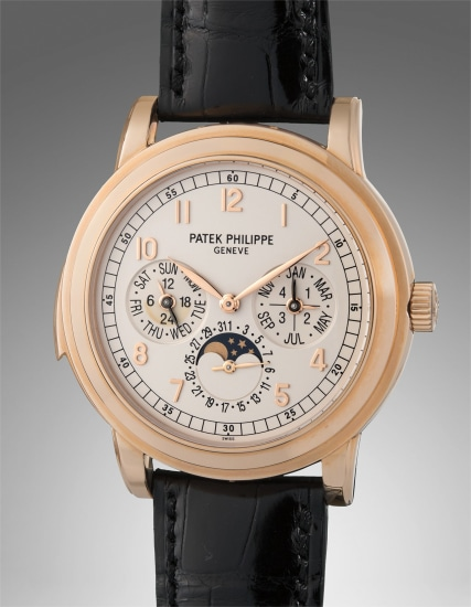 A very rare and exceptional pink gold minute repeating perpetual calendar wristwatch with cathedral gongs, moon phase, 24-hour and leap year indications, with certificate of origin, additional case back, and presentation box