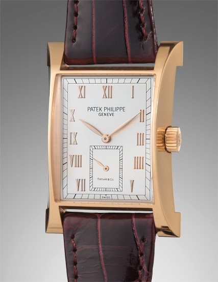 A very fine and rare pink gold limited edition rectangular wristwatch, made to commemorate the opening of Patek Philippe's watchmaking center in 1997, retailed by Tiffany & Co.