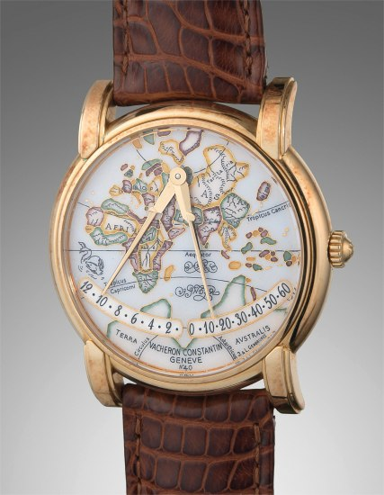 """A very fine and rare yellow gold automatic wristwatch with retrograde hours and minutes, polychrome cloisonné enamel """"Europa-Asia"""" dial, with guarantee and presentation box"""