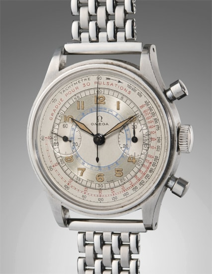 A highly attractive, oversized, and very rare stainless steel multi-scale chronograph wristwatch with two-tone silver dial, and luminous numerals and hands