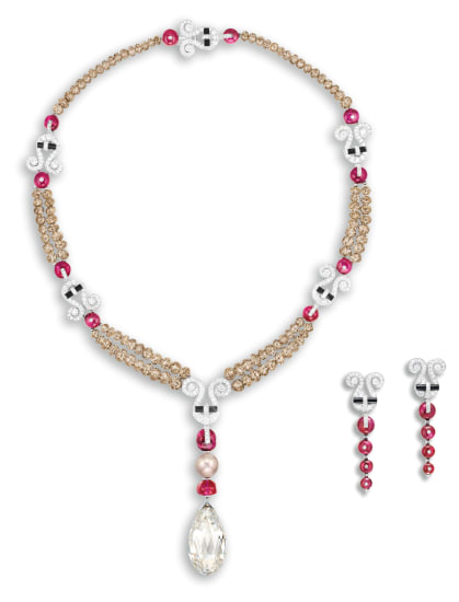 A Unique and Spectacular Diamond and Gem-set 'Jambi' Necklace and a Pair of Matching Pendent Earrings, Cartier